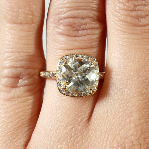 14k Goldplated Canary Yellow Cushioncut Cubic Zirconia Ring