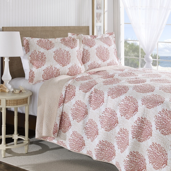 Laura Ashley Coral Coast Reversible Cotton 3-piece Quilt Set