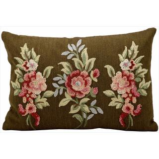 kathy ireland Three Bouquets Chocolate Throw Pillow (14-inch x 20-inch) by Nourison