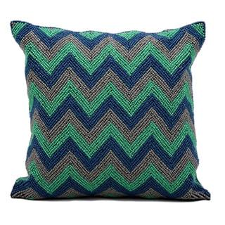 kathy ireland Beaded Chevron Blue/Grey Throw Pillow (16-inch x 16-inch) by Nourison