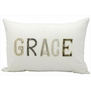 kathy ireland Grace White Throw Pillow (12-inch x 18-inch) by Nourison
