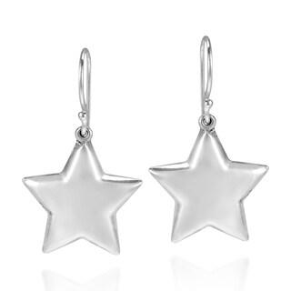 Handmade Lucky Stars .925 Sterling Silver Dangle Puff Earrings (Thailand)