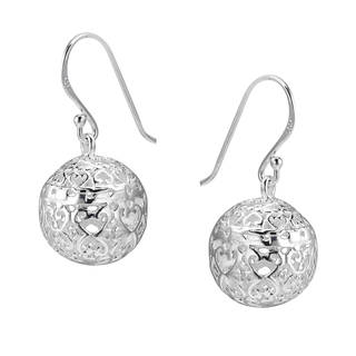 Handmade Swirling Romance Hearts Ornate Ball .925 Silver Earrings (Thailand)