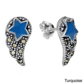 Angelic Wings Shooting Star Marcasite Stone Post Earrings (Thailand)