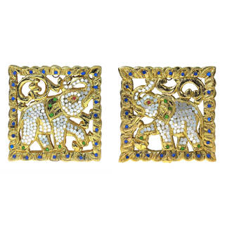Handmade Set of Two Elephant 24k Gold Leaf Carved Wood Wall Art (Thailand)