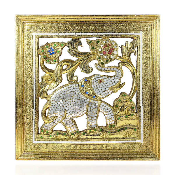 Shop Handmade Elephant Gilded 24k Gold Leaf Mirror Carved Wood Frame ...