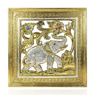 Handmade Elephant Gilded 24k Gold Leaf Mirror Carved Wood Frame (Thailand)