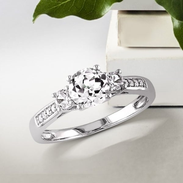 Miadora 10k White Gold Created White Sapphire and Diamond 3-Stone Engagement Ring