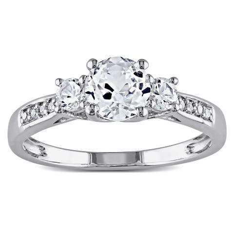 3-Stone Created White Sapphire and Diamond 10k White Gold Engagement Ring by Miadora
