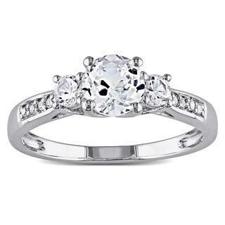10k White Gold Created White Sapphire and Diamond 3-Stone Engagement Ringby Miadora
