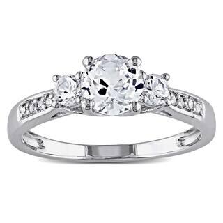 Miadora 10k White Gold Created White Sapphire and Diamond 3-Stone Engagement Ring