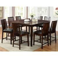 Furniture Of America Lopp Walnut 9 Piece Counter Height Dining Set Overstock 9273605