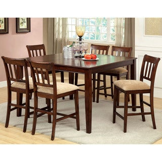 Furniture of America Plainster Brown Cherry 7-Piece Counter Height Set