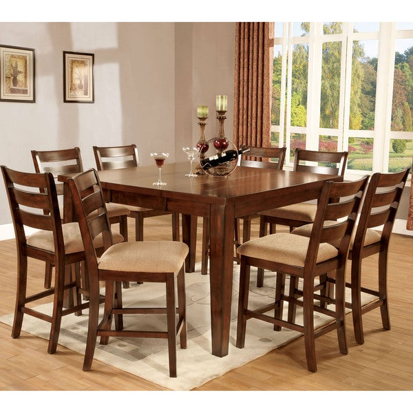Furniture of America Belvedere Antique Oak 9-piece Counter Height Dining Set