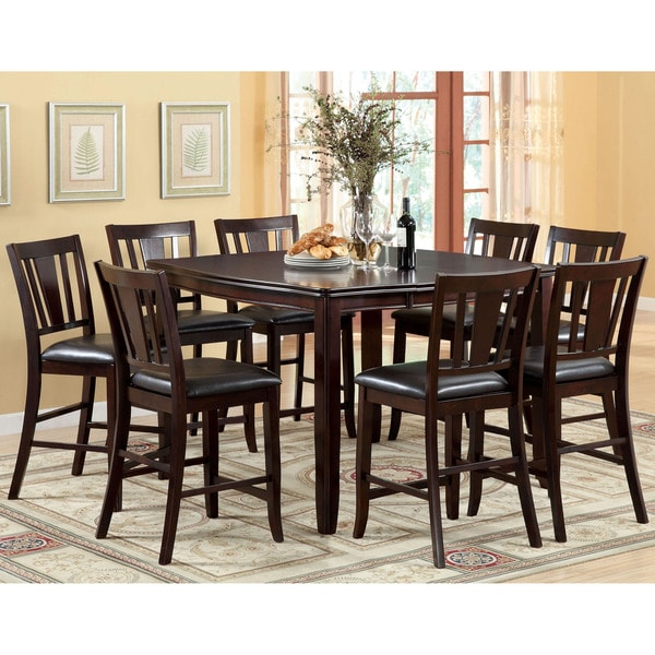Furniture Of America Corithea Espresso 9 Piece Counter Height Dining Set