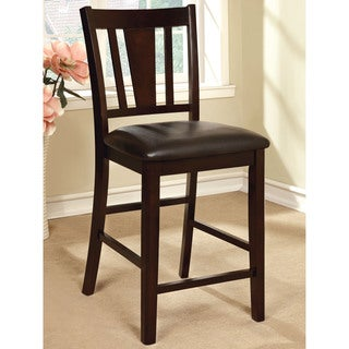 "Furniture of America Bension Espresso Wood Counter-height Chairs (Set of 2) - 18 1/2""L X 21 3/4""W X 41""H"