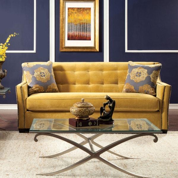 Shop Furniture Of America Fedrix Damask Fabric Tufted Sofa
