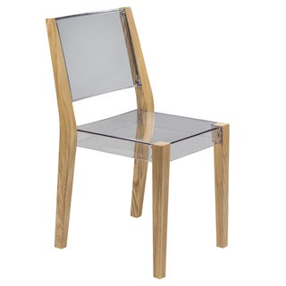 LeisureMod Barker Modern Polycarbonate Clear Chair with Wooden Frame