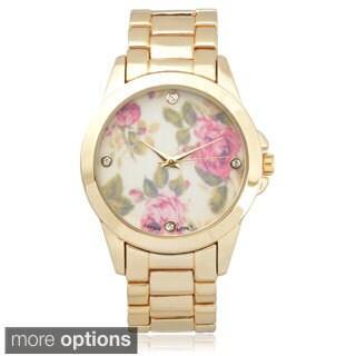 Geneva Platinum Women's Stainless Steel Rhinestone Floral Dial Link Watch