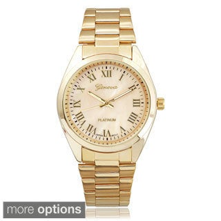 Geneva Platinum Women's Stainless Steel Shell Dial Link Watch