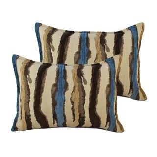Sherry Kline Waves Blue Brown Boudoir Throw Pillows (Set of 2)