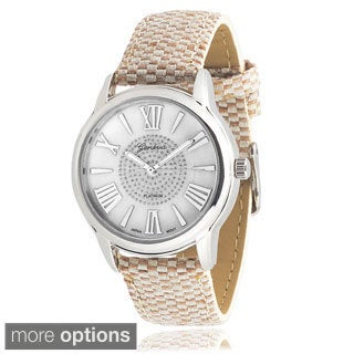 Geneva Platinum Women's Fabric Rhinestone Watch