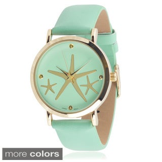 Geneva Platinum Women's 'Starfish' Faux Leather Watch