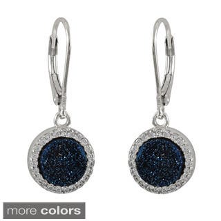 Luxiro Sterling Silver Druzy Quartz and Cubic Zirconia Dangle Lever-back Earrings|https://ak1.ostkcdn.com/images/products/9273706/P16437451.jpg?impolicy=medium