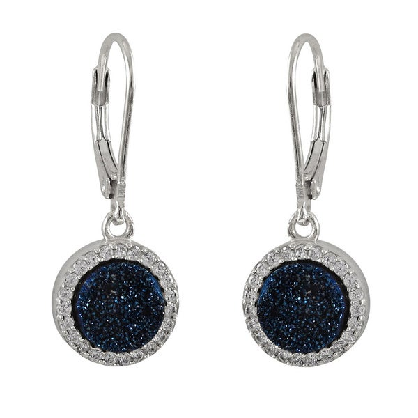 Luxiro Sterling Silver Druzy Quartz and Cubic Zirconia Dangle Lever-back Earrings