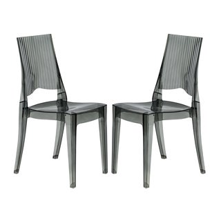 LeisureMod Coral Transparent Black Dining Chair (Set of 2)