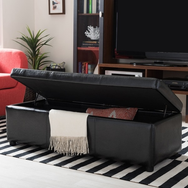 Baxton Studio Dennehy Black Bonded Leather Storage Bench Ottoman - Baxton Studio Dennehy Black Bonded Leather Storage Bench Ottoman