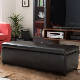 Baxton Studio Dennehy Dark Brown Bonded Leather Storage Bench Ottoman