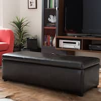 Gracewood Hollow Westerfeld Dark Brown Bonded Leather Storage Bench Ottoman