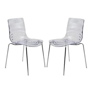LeisureMod Astor Polycarbonate Modern Transparent Clear Dining Chair (Set of 2)