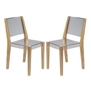 LeisureMod Barker Modern Polycarbonate Clear Chair with Wooden Frame (Set of 2)