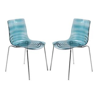 LeisureMod Astor Polycarbonate Modern Transparent Blue Dining Chair (Set of 2)