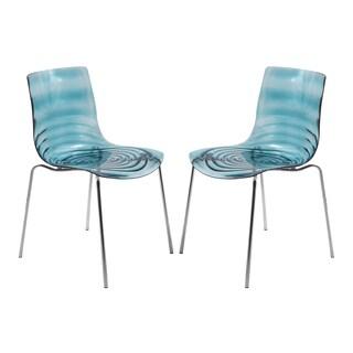 LeisureMod Astor Modern Transparent Blue Dining Chair (Set of 2)