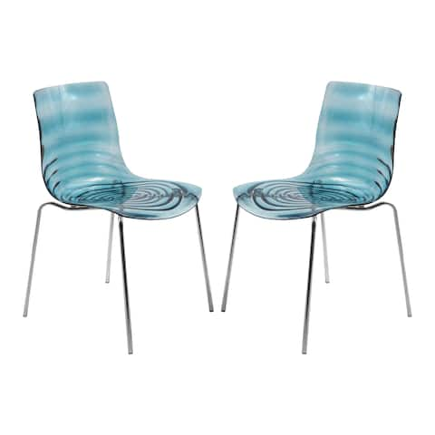 LeisureMod Astor Blue Plastic Chrome Base Dining Side Chair Set of 2