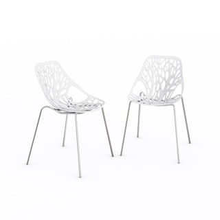 LeisureMod Asbury Modern White Dining Chair with Chrome Legs (Set of 2)