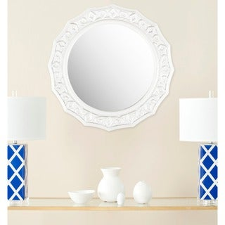 "Safavieh Gossamer Lace White 25-inch Round Decorative Mirror - 25"" x 25"" x 0.8"""