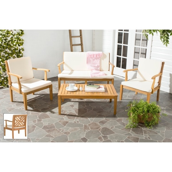 outdoor living bradbury brown acacia wood 4 piece beige cushion patio