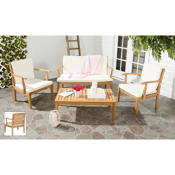 outdoor living fresno brown acacia wood 4 piece beige cushion patio