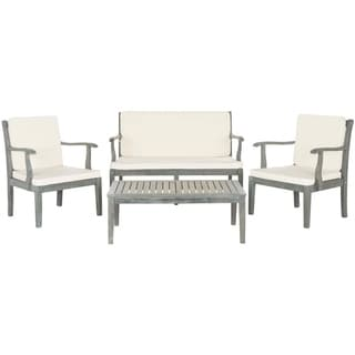 Safavieh Outdoor Living Fresno Ash Grey Acacia Wood 4-piece Beige Cushion Patio Set