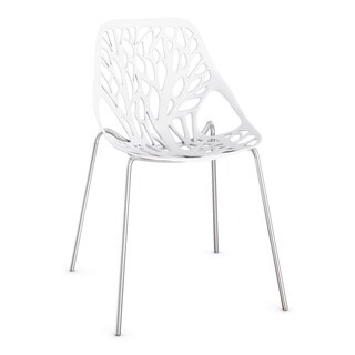 LeisureMod Asbury Modern White Dining Chair with Chrome Legs