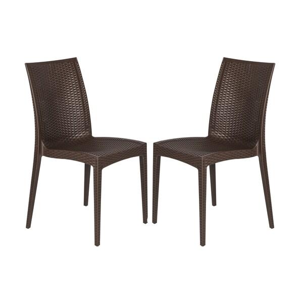LeisureMod Mace Modern Weave Indoor/ Outdoor Coffee Brown ...