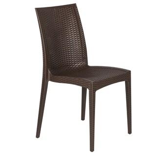 LeisureMod Mace Modern Weave Indoor/ Outdoor Coffee Brown Dining Chair