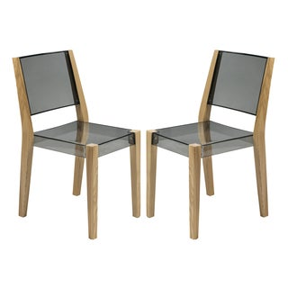 LeisureMod Barker Modern Polycarbonate Transparent Black Chair with Wooden Frame (Set of 2)