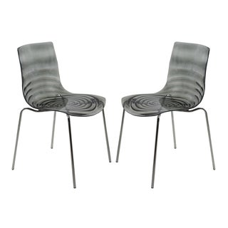 LeisureMod Astor Polycarbonate Modern Transparent Black Dining Chair (Set of 2)