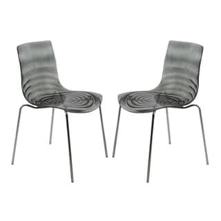 LeisureMod Astor Polycarbonate Modern Transparent Black Dining Chair (Set of 2)
