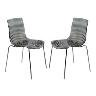 LeisureMod Astor Modern Transparent Black Dining Chair (Set of 2)